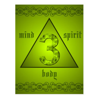 Mind Body Spirit Holistic Power of Three Green Postcard