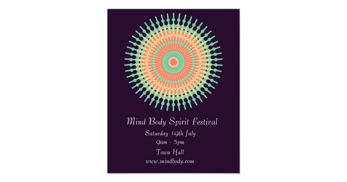 Mind Body Spirit New Age Mandala Festival Flyer Zazzle Com