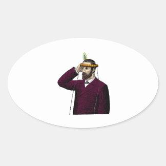 Mind Control Contraption Steampunk Oval Sticker