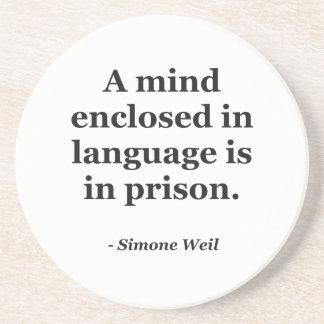 Mind enclosed in language Quote Beverage Coaster