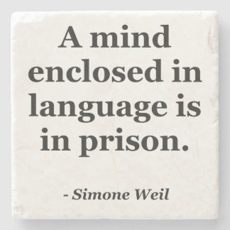 Mind enclosed in language Quote Stone Beverage Coaster
