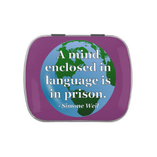 Mind enclosed in language Quote. Globe Jelly Belly Tins