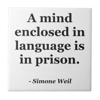 Mind enclosed in language Quote Tile