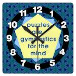 Mind Gymnastics Square Wall Clock