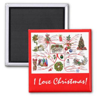Mind Map: I Love Christmas Magnet: 2 Inch Square Magnet