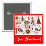 Mind Map of Christmas  Button Badge 2 Inch Square Button
