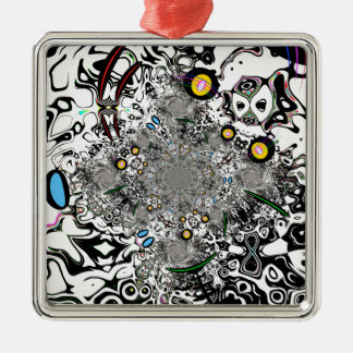 Mind Maze 1 Square Metal Christmas Ornament