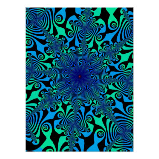 Mind Spinner in Blue amd Green Poster