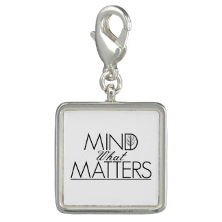 Mind What Matters - Silver Square Charm
