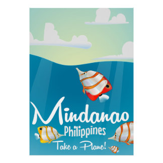 Mindanao, philippines cartoon travel poster