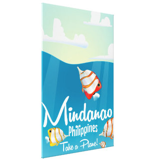 Mindanao, philippines cartoon travel poster canvas print