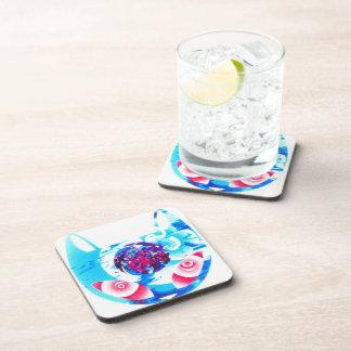 MIndful Blue Cat Hard Plastic Coaster