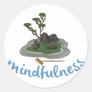 Mindfulness del jardín del zen pegatina redonda