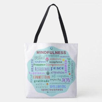 Mindfulness Word Jumble Tote Bag