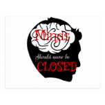 Minds should never be closed postcard