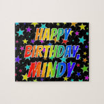 "[ Thumbnail: ""Mindy"" First Name, Fun ""Happy Birthday"" Jigsaw Puzzle ]"