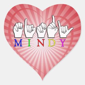 MINDY   NAME ASL FINGER SPELLED HEART STICKER
