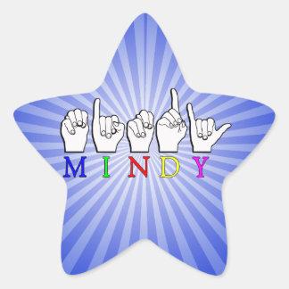 MINDY   NAME ASL FINGER SPELLED STAR STICKER