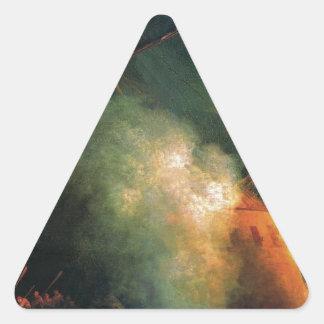 Mine attack by Ivan Aivazovsky Triangle Sticker