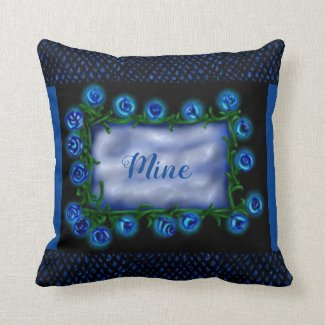 Mine Blue Purple Roses Dragon Scales Throw Pillows