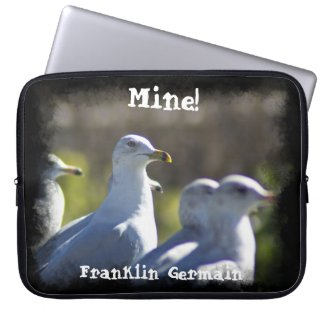 Mine! Seagull on a Rail Black Edge Laptop Sleeve