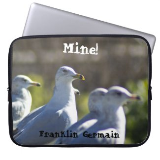Mine! Seagull on a Rail Laptop Computer Sleeves