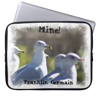 Mine! Seagull on a Rail White Edge Computer Sleeve