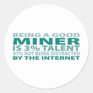 Miner 3% Talent Classic Round Sticker