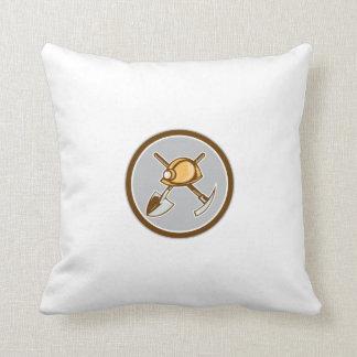 Miner Hardhat Spade Pick Axe Circle Retro Throw Pillow