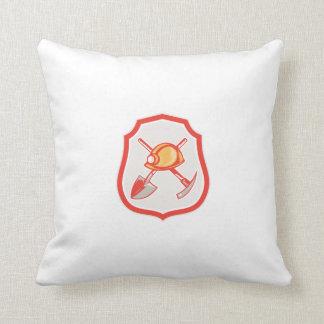 Miner Hardhat Spade Pick Axe Shield Retro Pillows