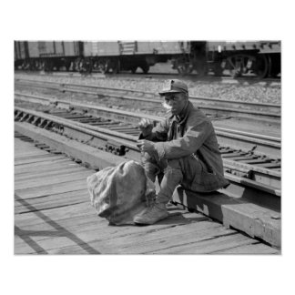 Miner in the Railyards, 1938. Vintage Photo Poster