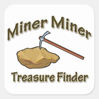Miner Miner Treasure FInder Square Stickers