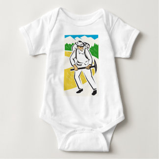 miner with pick ax and backpack mountains retro baby bodysuit