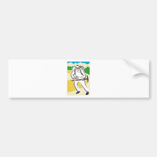 miner with pick ax and backpack mountains retro bumper sticker