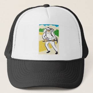 miner with pick ax and backpack mountains retro trucker hat