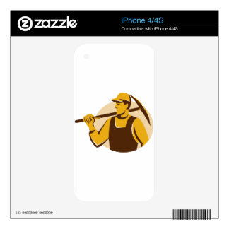 miner worker with pick ax retro iPhone 4S decal
