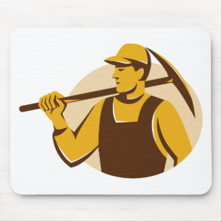 miner worker with pick ax retro mouse pad