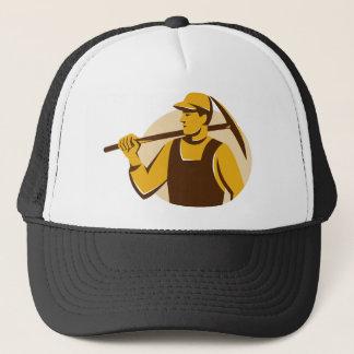miner worker with pick ax retro trucker hat