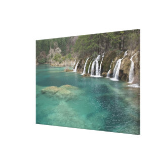 Mineral deposits make waterfalls and clear gallery wrapped canvas