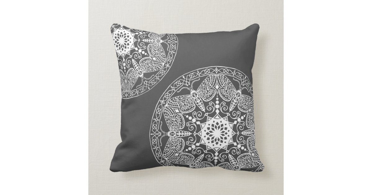 Mineral Grey with White Embellishments Throw Pillow Zazzle.com