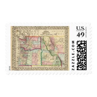Mineral, lavado, Idaho, mapa de Mont de Mitchell Estampilla
