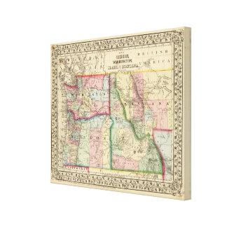 Mineral, lavado, Idaho, mapa de Mont de Mitchell Impresion De Lienzo