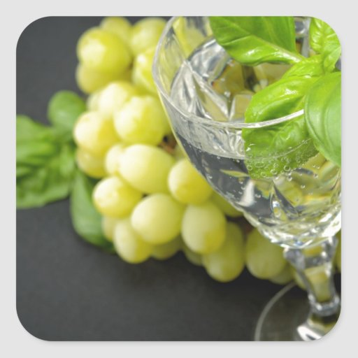 Mineral sparkling water with basil and grapes square sticker
