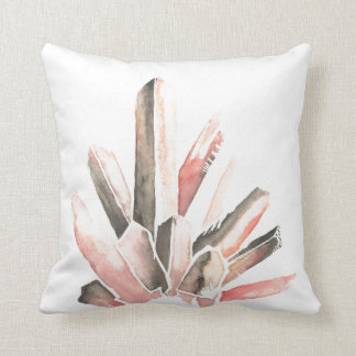 Mineral Watercolor Pink Throw Pillow