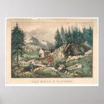 Minería aurífera en California (0636A) Póster