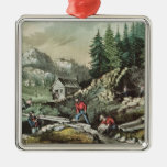 Minería aurífera en California, 1871 Adorno Navideño Cuadrado De Metal