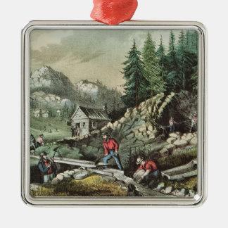 Minería aurífera en California, 1871 Adorno Cuadrado Plateado