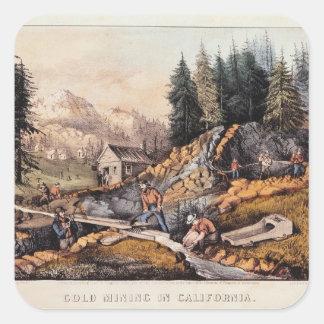 Minería aurífera en California Calcomanía Cuadradase