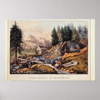 Minería aurífera en California Póster