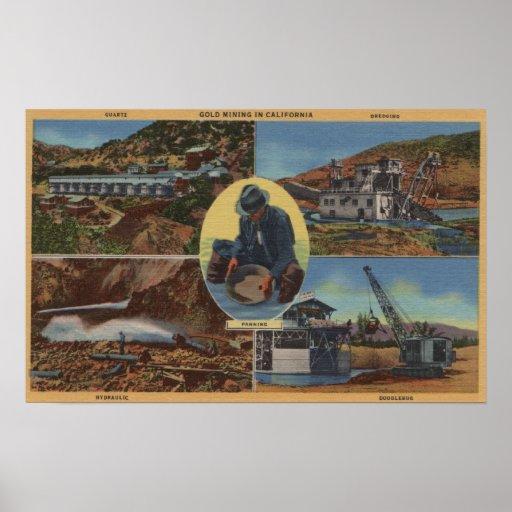 Minería aurífera en California - Quarz, rastra Posters